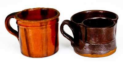 Two Glazed Antique American Redware Mugs