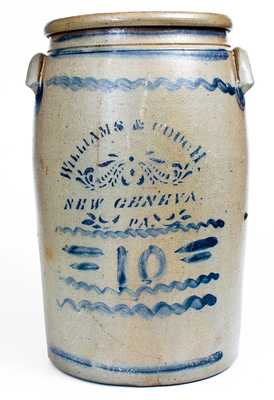 Scarce Ten-Gallon WILLIAMS & COUCH. / NEW GENEVA. / PA Stoneware Jar