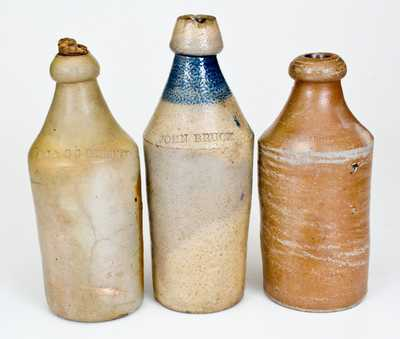 Three Stoneware Bottles, American, 19th century