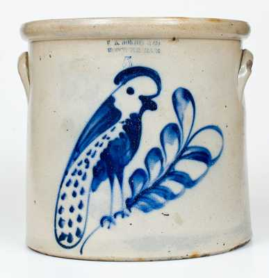 Five-Gallon F.B. NORTON & CO / WORCESTER, MASS Stoneware Parrot Crock