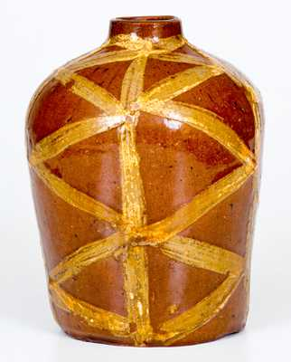 Exceptional and Important 18th Century Redware Tea Canister with Profuse Slip Decoration