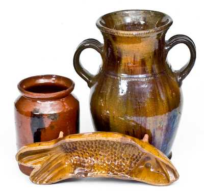 Three Pieces of Glazed Redware, American, 19th century