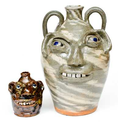 Two Southern Stoneware Face Jugs, fourth quarter 20th century