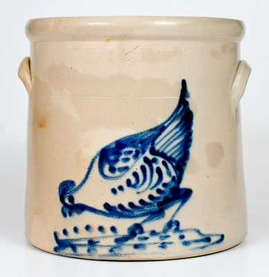4 Gal. Stoneware Crock with Bold Chicken Pecking Corn Decoration, Ellenville, NY