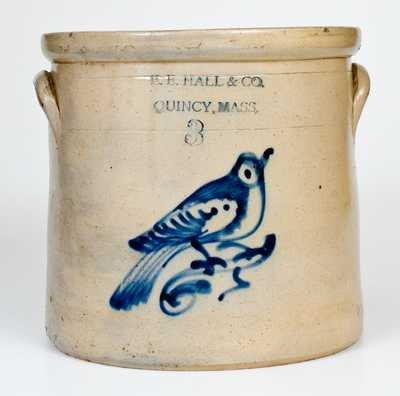 3 Gal. E. E. HALL & CO. / QUINCY, MASS. Stoneware Crock with Bird Decoration
