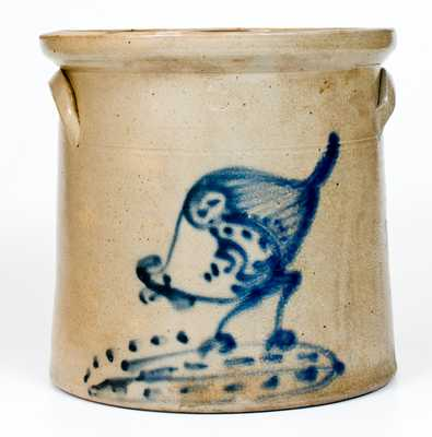 3 Gal. Stoneware Crock with Chicken Pecking Corn Decoration, Ellenville, NY