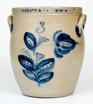 3 Gal. N. CLARK & CO. / LYONS Stoneware Jar with Elaborate Floral Decoration