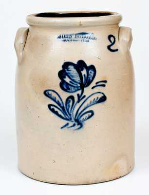 JOHN BURGER / ROCHESTER Stoneware Jar with Slip-Trailed Floral Decoration