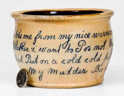 Outstanding Stoneware Child's Chamber Pot with Charming Poetic Inscription