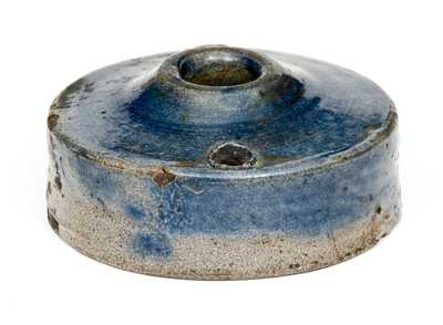 New York State Stoneware Inkwell with Cobalt-Washed Top
