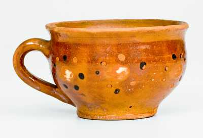 Very Rare Redware Cup with Floral Decoration attrib. Solomon Loy, Alamance County, NC