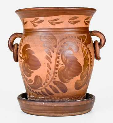 Exceptional Southwestern PA Tanware Flowerpot w/ Elaborate Decoration and Ring Handles