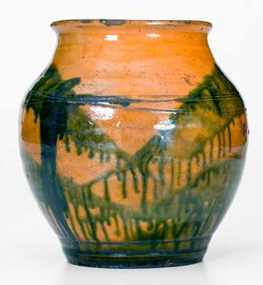 Outstanding C. A. Haun, Greene County, TN Redware Jar with Copper Slip Decoration