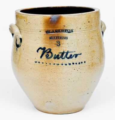 Rare CLARK & FOX / ATHENS 3 Gal. Stoneware Jar Inscribed Butter
