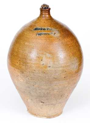 Extremely Rare and Important Gurdon Robins / Fayetteville, NC Jug - First North Carolina Stoneware Pottery