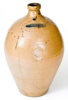 Extremely Rare WM. PECKER 2 Gal. Stoneware Jug, Merrimacport, MA