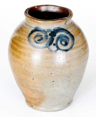 Fine Small-Sized Stoneware Jar with Watchspring Decoration, NY or NJ Origin, circa 1789