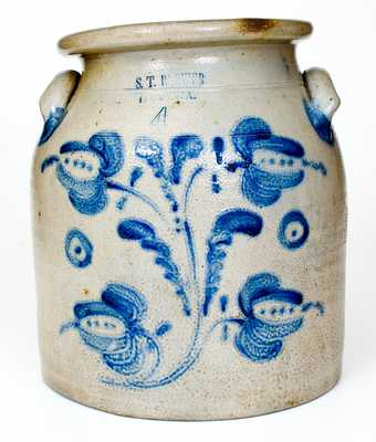 4 Gal. S. T. BREWER / HAVANA Stoneware Jar with Floral Decoration