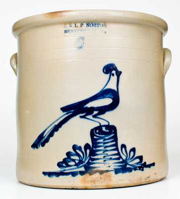 6 Gal. E. & L. P. NORTON / BENNINGTON, VT Elaborate Pheasant-on-Stump Crock