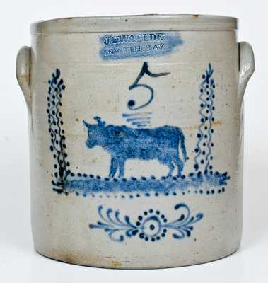 Outstanding 5 Gal. J. C. WAELDE / NORTH BAY Stoneware Crock with Elaborate Cow Decoration