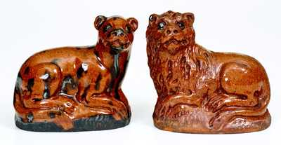Very Unusual Pair of Redware Male and Female Lions, probably Pennsylvania