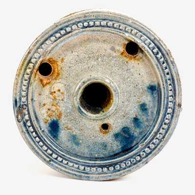 Fine att. Nathan Clark, Athens, NY Stoneware Inkwell w/ Cobalt and Coggled Designs