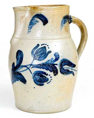 Outstanding JOHN BELL / WAYNESBORO Stoneware Pitcher with Floral Decoration