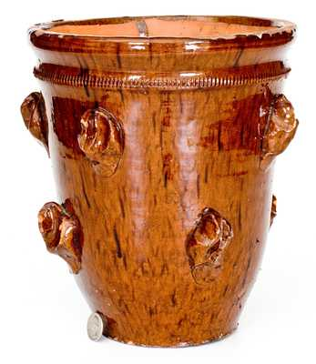 Fine Large-Sized Redware Flowerpot with Applied Rustic Features