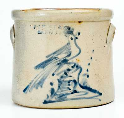 F. T. WRIGHT & SON / TAUNTON, MASS. Stoneware Crock w/ Bird-on-Stump Decoration