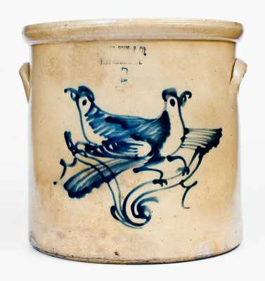 6 Gal. OTTMAN BROS. & CO. / FORT EDWARD, NY Stoneware Double Bird Crock