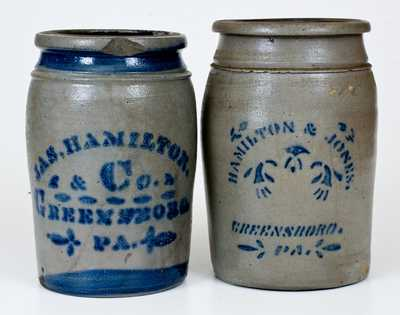 Lot of Two: GREENSBORO, PA Stenciled Stoneware Jars