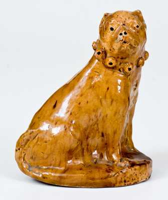 Unusual Hand-Modeled Pennsylvania Redware Dog Figure