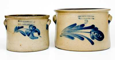 Lot of Two: Cowden Family, Harrisburg, Pennsylvania Stoneware Crocks