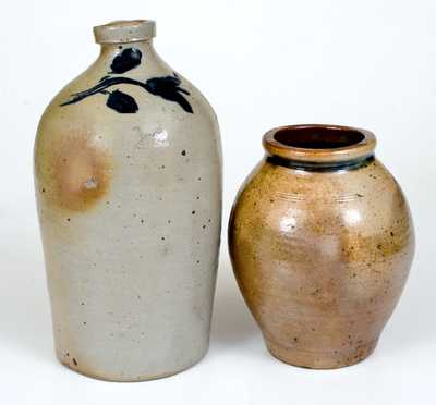 Lot of Two: Small-Sized Manhattan Stoneware Jar and Jug w/ Tulip Decoration