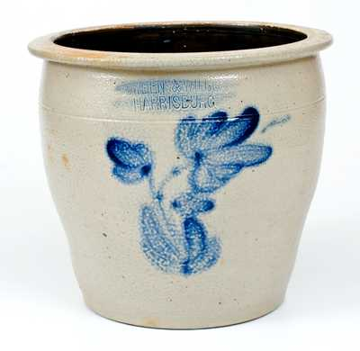 COWDEN & WILCOX / HARRISBURG, PA Stoneware Jar with Floral Decoration