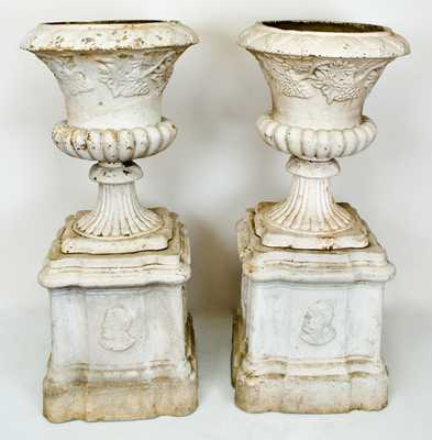 Lot of Two: Unusual Ceramic Ulysses S. Grant Urns, probably Ohio, late 19th century