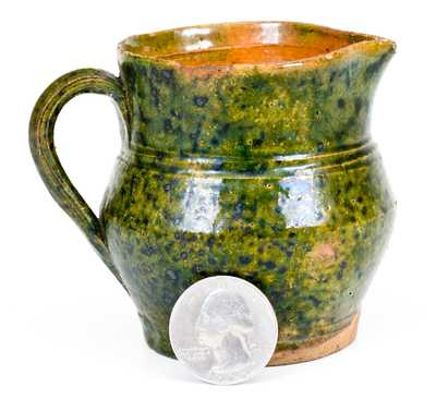 Very Fine Miniature Green-Glazed Southern Redware Pitcher, Salem, NC or Virginia origin