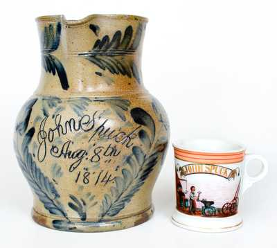 Rare and Important Remmey, Philadelphia Stoneware Presentation Pitcher w/ Occupational Shaving Mug