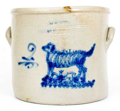 Rare S. HART / FULTON Stoneware Crock with Dog Decoration
