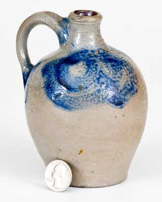 Miniature Stoneware Jug with Cobalt Pomegranate and Floral Motifs, attrib. Kemple Pottery, Ringoes, NJ, 18th century