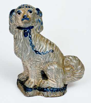 Cobalt-Decorated Figure of a Seated Spaniel, attributed to Wallace and Cornwall Kirkpatrick, Anna, IL
