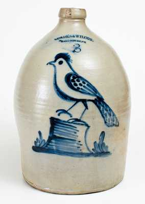 COWDEN & WILCOX. / HARRISBURG, PA Three-Gallon Stoneware Jug with Cobalt Bird-on-Stump Decoration