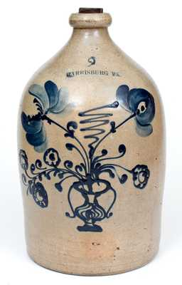 HARRISBURG PA Stoneware Jug attributed to John Young & Co., circa 1856-58