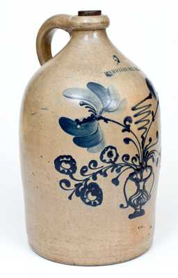 Very Rare Two-Gallon HARRISBURG (John Young) Stoneware Jug w/ Flowering Urn Design