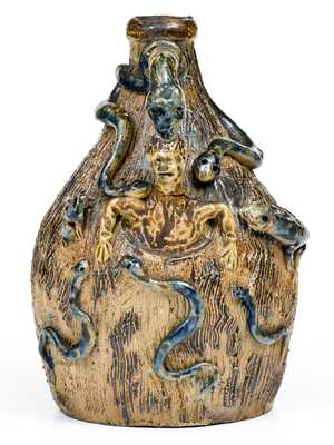 Stoneware Temperance Jug attributed to Simeon L. Bray, Evansville, IN, circa 1885