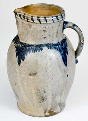 Extremely Rare SOLOMON BELL (Winchester, VA) Cobalt-Decorated Stoneware Pitcher, c1840