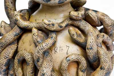 Important and Outstanding Anna Pottery Stoneware Snake Jug