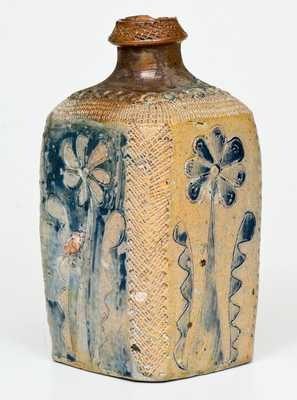Manhattan Masterwork: 18th Century Stoneware Tea Flask w/ Elaborate Incising, attrib. Crolius Family