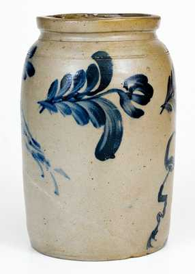 Exceptional Richard Remmey, Philadelphia Stoneware Jar w/ Man s Profile and Double Birds Motifs