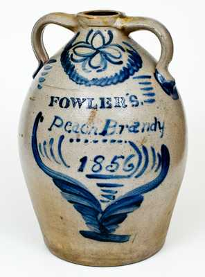 FOWLER'S. / Peach Brandy / 1856 Seven-Gallon Double-Handled Ohio Stoneware Jug with Profuse Cobalt Decoration